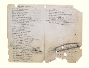 Handwritten Bob Dylan lyrics