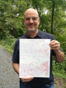 "Songwriter Dennis Matkosky with lyrics for ""Maniac"""