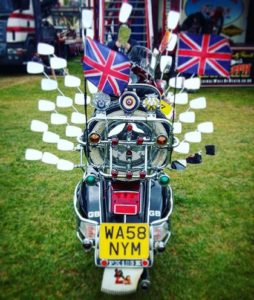 Mod, scooter british flag